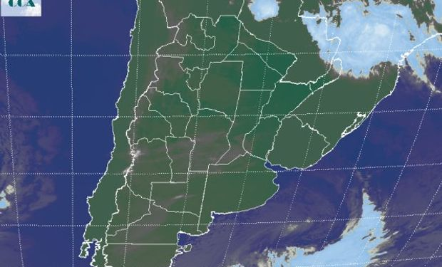 La foto satelital presenta un sistema de baja presión que sale hacia las costas del sudeste de BA.
