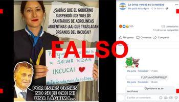 No, Aerolíneas Argentinas no suspendió el traslado de órganos del Incucai