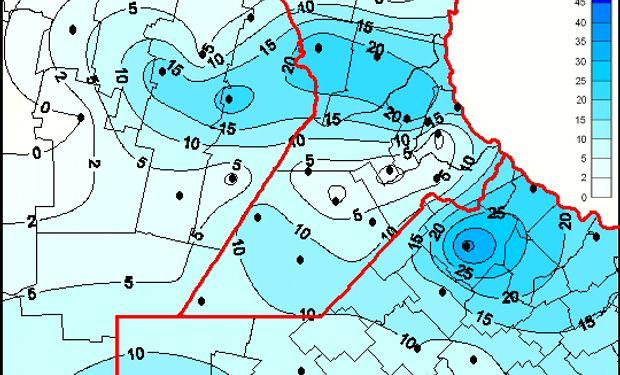 Al tope de los registros de las lluvias de las últimas 24 horas, se destacan Tandil y Olavarría, con 50 y 40 mm cada una.