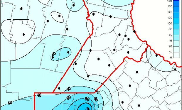 Mapa de precipitación acumulada en el último fin de semana de enero