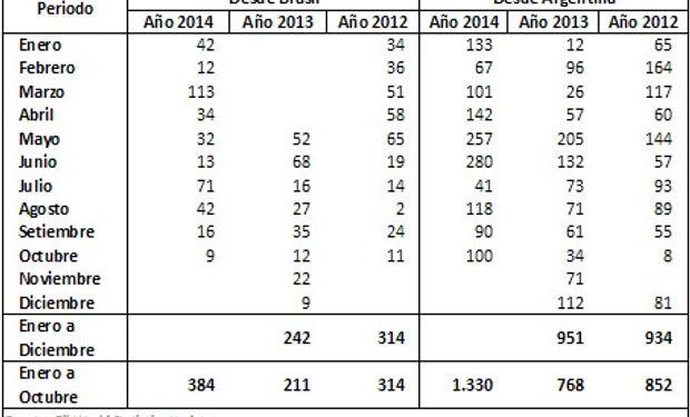 Exportaciones de Aceite de soja de Brasil y Argentina con destino a India. Últimos tres años (En millones de Toneladas) Fuente: BCR