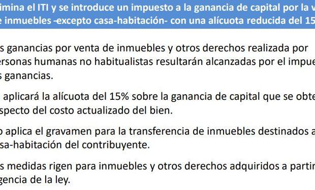Eliminación del impuesto a la transferencia de inmuebles (ITI)