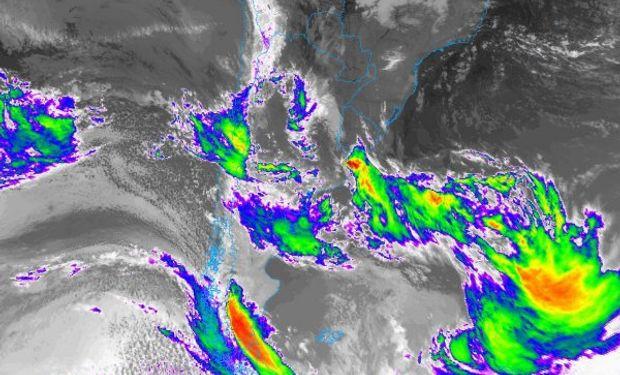 La imagen satelital define el panorama que marcara la dinámica atmosférica de los próximos tres días.