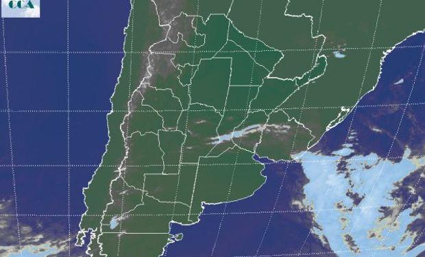 La foto satelital muestra un predominio de cielos despejados en gran parte de las zonas productivas del país.