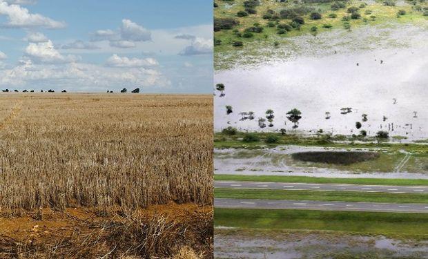Las dos caras del campo, en poco tiempo se pasó de la inundación a la sequía extrema.