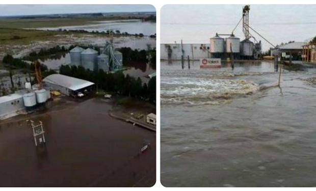 La localidad de El Tío bajo agua.