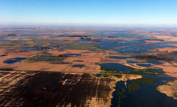 Hay miles de hectáreas bajo el agua en el partido. Foto: Gentileza Santiago Rodríguez Ribas.