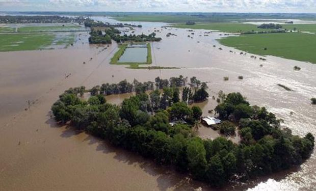 Campos inundados en la zona de Arroyo del Medio, cerca de La Emilia, provincia de Buenos Aires. Foto: Emiliano Lasalvia.