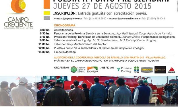 Cronograma Jornada Pre Siembra Campo Creciente.