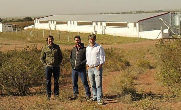 Los hermanos Andrés, Santiago y Mario Aguilar Benítez frente a la granja porcina en el departamento Río Seco, que en tres años albergará a dos mil madres (La Voz).