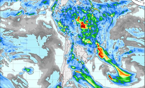 Pronostico de precipitaciones válido para el 19 de febrero de 2014.