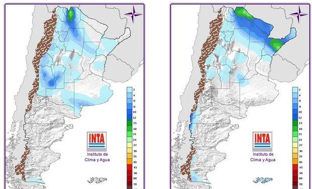 Mapa de precipitaciones para el domingo y lunes próximo.