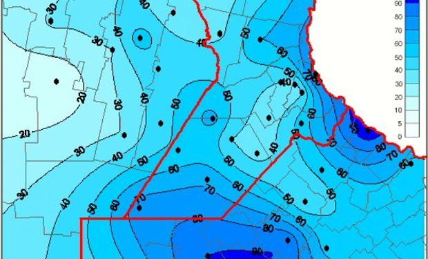 Mapa de precipitación acumulada en las últimas 72 horas. Fuente: Bolsa de Comercio de Rosario.