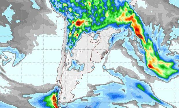 Pronóstico de precipitaciones para el 1 de febrero de 2017.