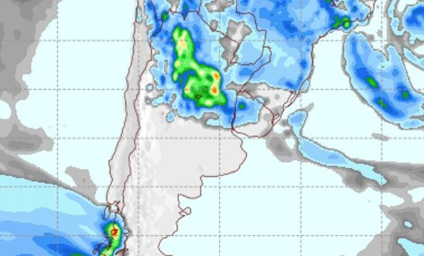 Pronóstico de lluvias para el jueves.