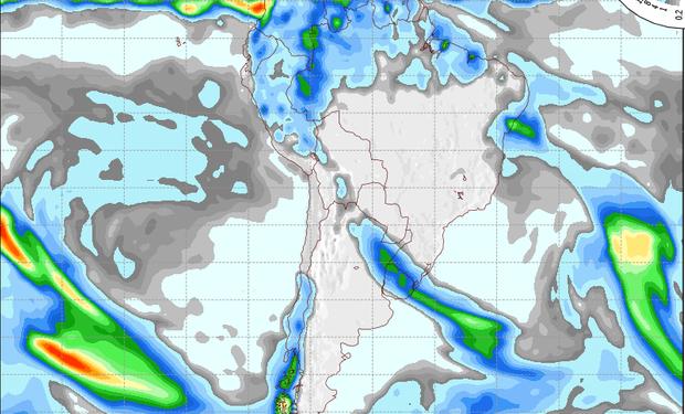 Pronóstico de precipitaciones sobre Argentina para el 7 de agosto de 2014.