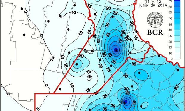 Precipitación en milímetros, 11 y 12 de junio de 2014. Fuente: Bolsa de Comercio de Rosario.