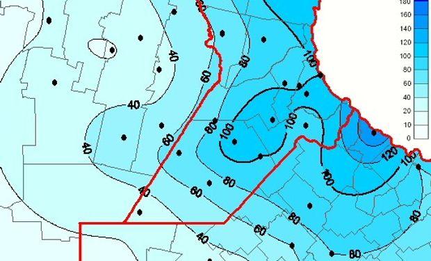 Mapa de precipitación acumulada en las últimas 72 horas. Fuente: BCR.
