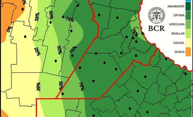 Mapa de reserva de agua para pradera al 27/8/15.