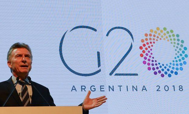 Mauricio Macri asumiendo la presidencia del G20.