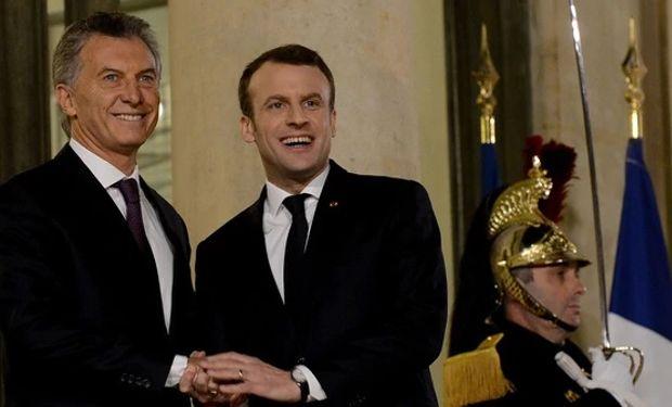 Mauricio Macri junto a su par francés Emmanuel Macron.