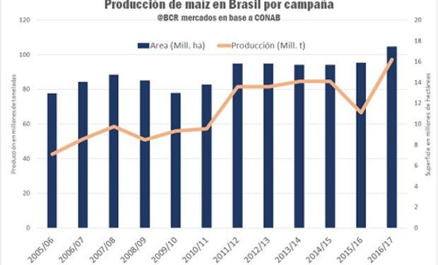 Con rindes excepcionales y una actividad exportadora sin precedentes, el maíz brasileño rompe marcas históricas. Fuente: Bolsa de Comercio de Rosario.