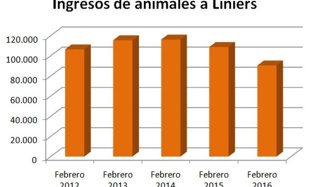 Menor oferta en Liniers durante febrero de 2016.