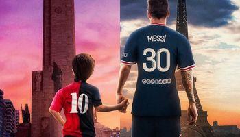 El homenaje de Messi a Rosario durante su llegada a París