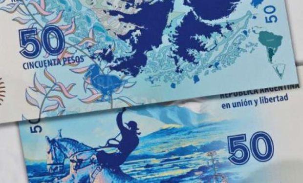 """El billete lleva por nombre """"Malvinas. Un amor soberano"""" y es aquel que ya fue presentado por la presidenta Cristina Kirchner."""