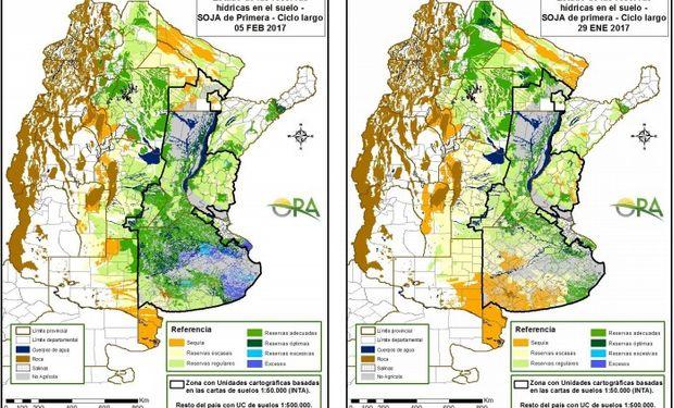 Reservas de humedad en soja al 5 de febrero y 29 de enero.