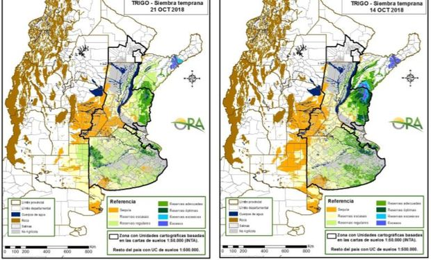 Los mapas corresponden a la estimación de contenido de agua en el primer metro de suelo para lotes de trigo.