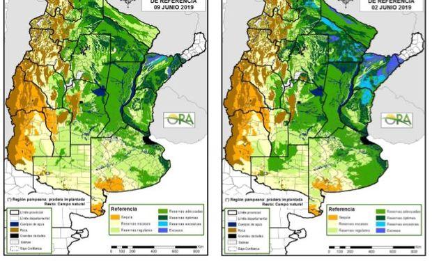 Los mapas corresponden a la estimación de contenido de agua en el primer metro de suelo para pastura implantada o campo natural.