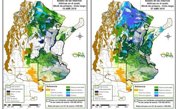 Los mapas corresponden a la estimación de contenido de agua en el primer metro de suelo para lotes de soja de primera.