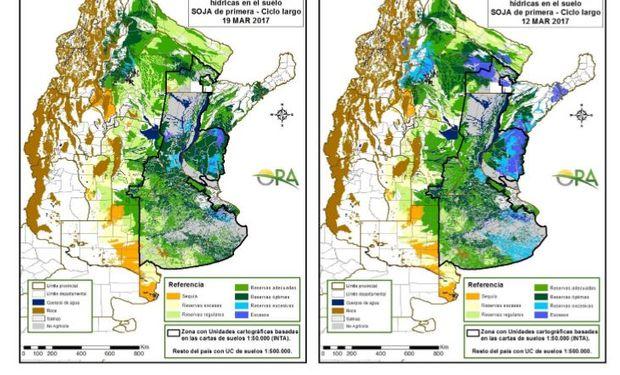 Reservas de humedad al 19 y 12 de marzo respectivamente.