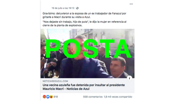 Es verdadero que una mujer fue detenida en Azul por insultar a Macri