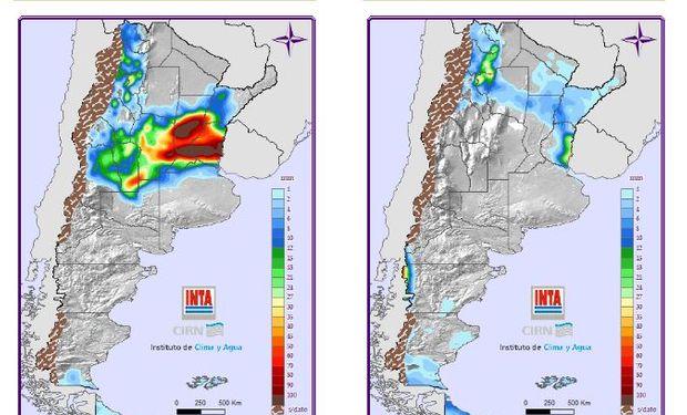 Mapa de precipitaciones para el domingo y lunes