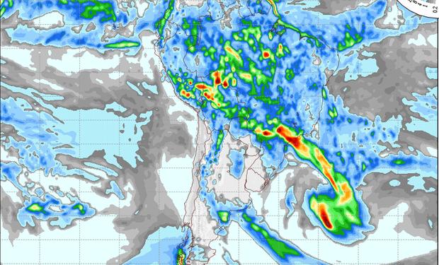 Pronostico de precipitaciones válido para el 18 de febrero de 2014.