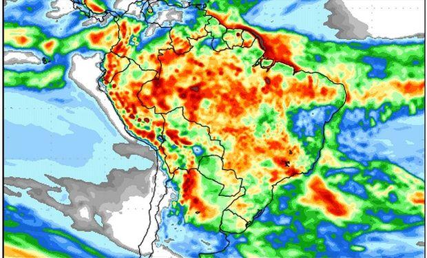 Pronóstico de precipitaciones del 2 al 10 de marzo. Fuente: COLA