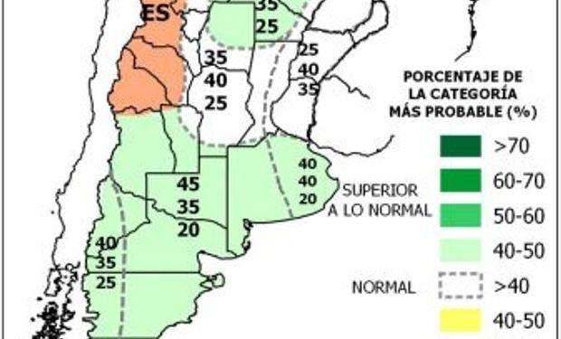 Las precipitaciones previstas para los meses de mayo, junio y julio.