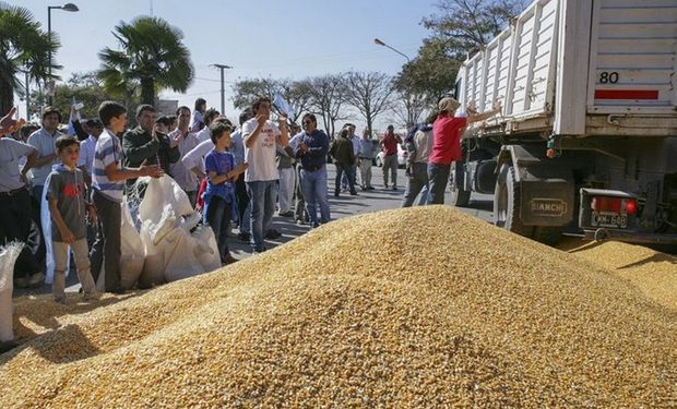 Frente a la sede de la AFIP, en el centro de Salta, los productores arrojaron maíz. Foto: Jan Touzeau / El Tribuno.