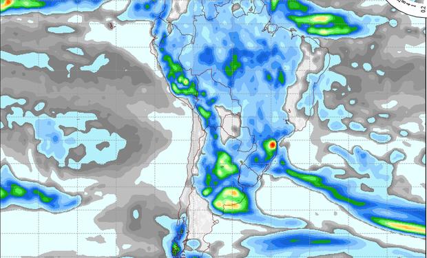 Pronostico de precipitaciones válido para el 9 de enero de 2015.
