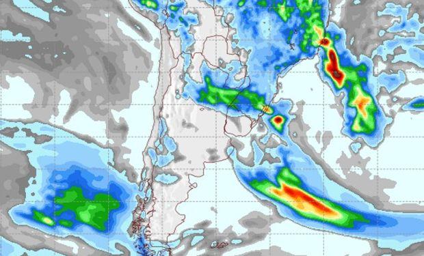 Pronóstico de precipitaciones para el martes.