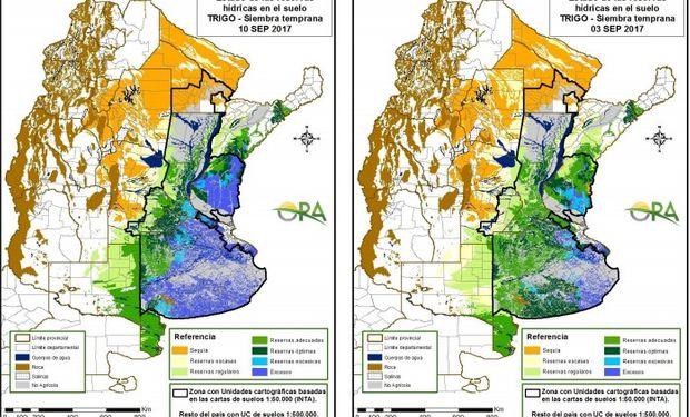 Reservas de humedad al 10 y 3 de septiembre respectivamente.