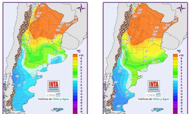Mapas corresponden a Temperaturas Mínimas pronosticadas.