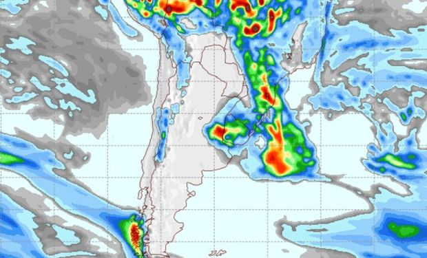 Pronóstico de precipitaciones para el martes 14 de febrero.