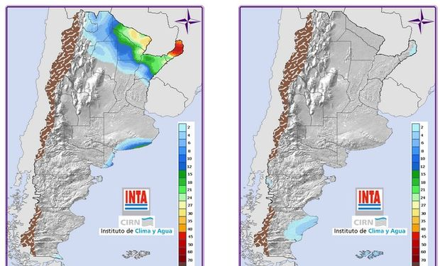 Pronóstico de precipitaciones. Fuente: Clima y Agua INTA