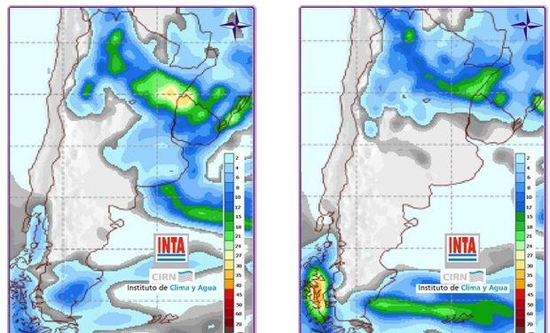 Pronostico de precipitaciones. Fuente: Clima y Agua INTA