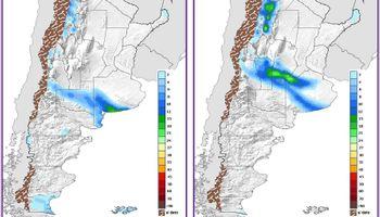 Probabilidad de lluvias sobre el sur de la región pampeana