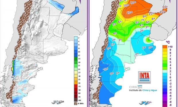 Pronóstico de lluvias y temperaturas - 13 de junio. Fuente: Clima y Agua.