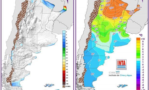 Pronóstico de lluvias y temperaturas - 14 de junio. Fuente: Clima y Agua.